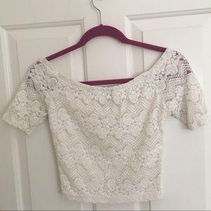 fancy White lace Cropped short sleeve shirt